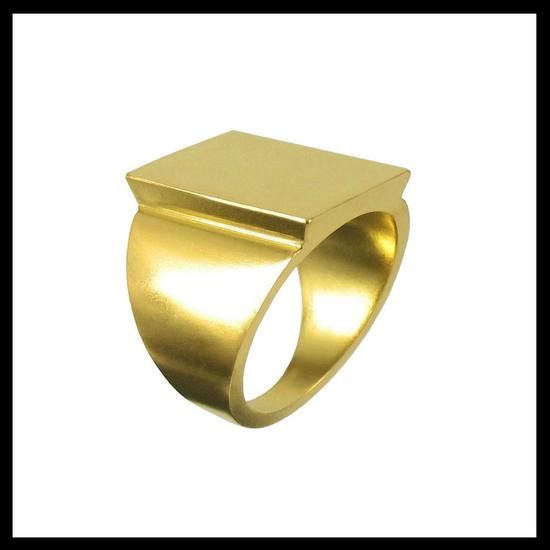 Celtic Nouveau Raised Gold Signet Ring