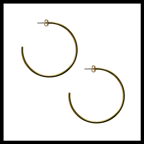 Yellow Gold Large Fine Hoops