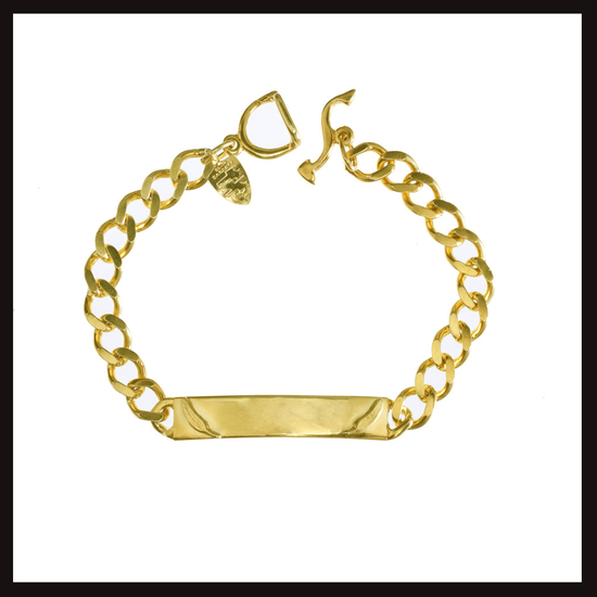 Small Golden  Feather ID Bracelet